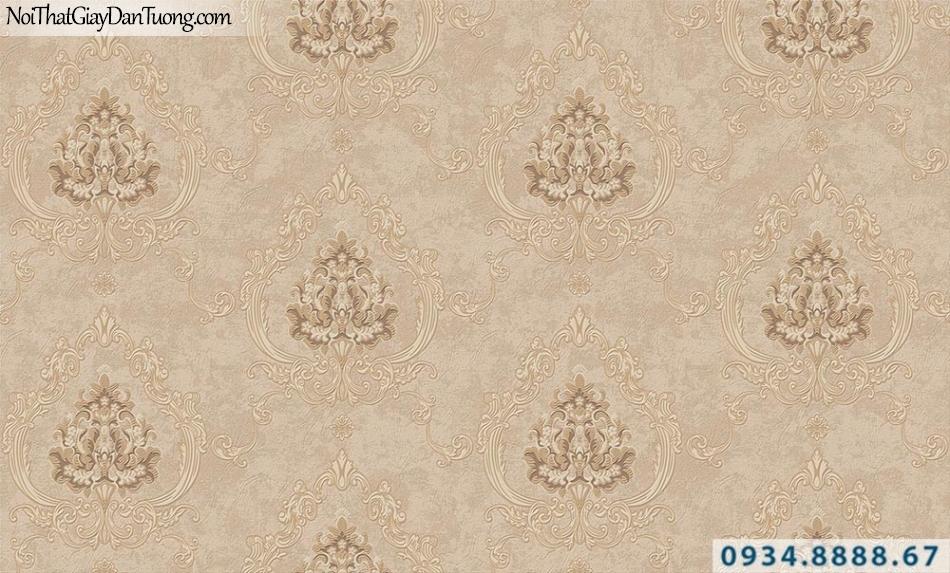 Giấy dán tường hoa văn cổ điển màu vàng nâu | Giấy dán tường GARDA 31044