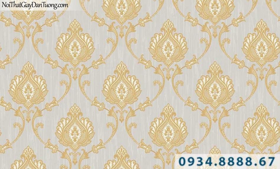 Giấy dán tường màu vàng tươi, hoa văn họa tiết cổ điển | Giấy dán tường GARDA 31064