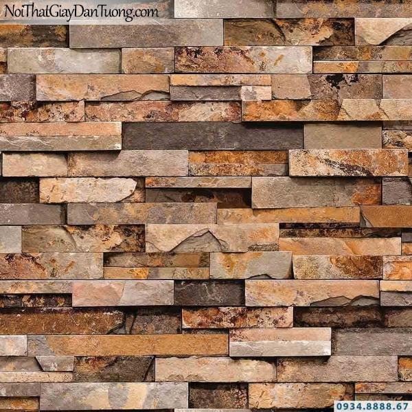 Giấy dán tường giả gạch, giả đá, giả gỗ 3D Stone Natural 85011-1 | Giấy dán tường giả đá màu cam, màu vàng đậm, vàng nâu