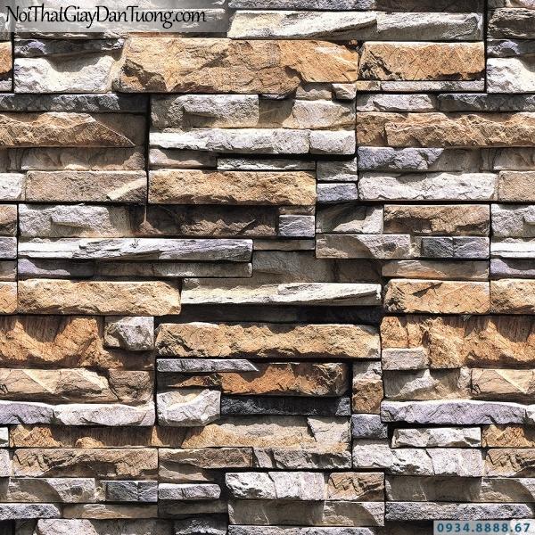 Giấy dán tường giả gạch, giả đá, giả gỗ 3D Stone Natural 85015-2 | Giấy dán tường giả đá màu vàng cam