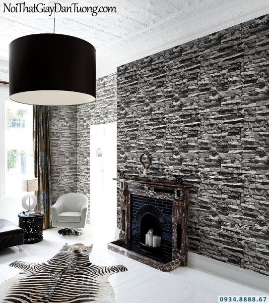 Giấy dán tường giả gạch, giả đá, giả gỗ 3D Stone Natural 85015-3 - 85015-1 | Giấy dán tường giả đá màu đẹn, màu xám