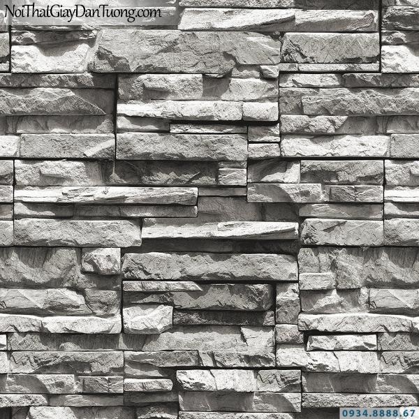 Giấy dán tường giả gạch, giả đá, giả gỗ 3D Stone Natural 85015-3 | Giấy dán tường giả đá 3D màu đen trắng