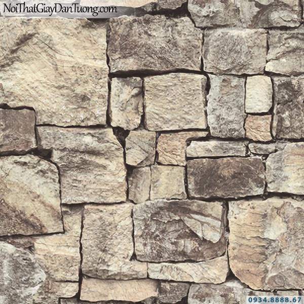Giấy dán tường giả gạch, giả đá, giả gỗ 3D Stone Natural 85016-1 | Giấy dán tường giả đá 3D màu vàng