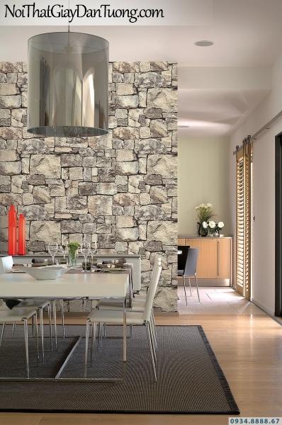 Giấy dán tường giả gạch, giả đá, giả gỗ 3D Stone Natural 85016-1 | Giấy dán tường giả đá 3D màu vàng cam