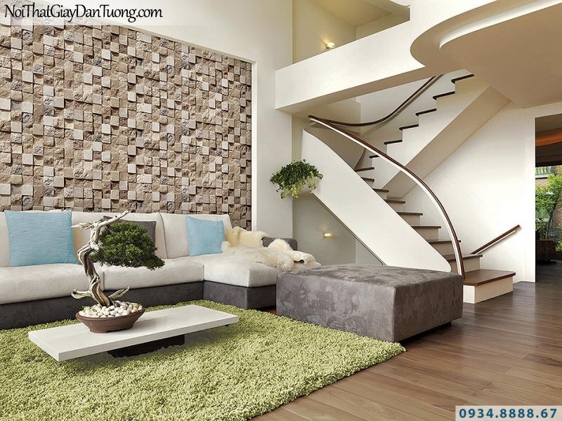 Giấy dán tường giả gạch, giả đá, giả gỗ 3D Stone Natural 85018-1 | Giấy dán tường giả đá 3D ô vuông màu vàng cam