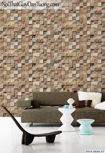 Giấy dán tường giả gạch, giả đá, giả gỗ 3D Stone Natural 85018-2 | Giấy dán tường 3D giả đá màu vàng