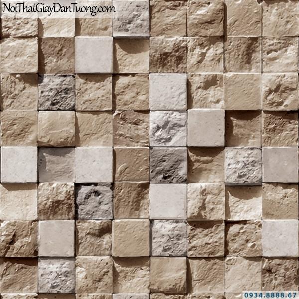 Giấy dán tường giả gỗ, giả đá, giả đá 3D Stone & Natural 85018-1 | Giấy dán tường giả đá 3D màu vàng cam