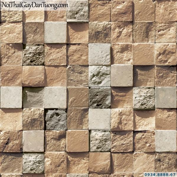 Giấy dán tường giả gỗ, giả đá, giả đá 3D Stone & Natural 85018-2 | Giấy dán tường giả đá màu vàng cam dạng ô vuông