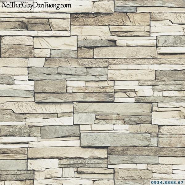 Giấy dán tường giả gỗ, giả đá, giả đá 3D Stone & Natural 85024-1 | Giấy dán tường giả đá màu vàng nhạt