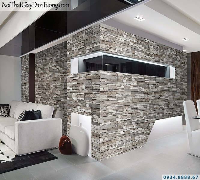 Giấy dán tường giả gỗ, giả đá, giả đá 3D Stone & Natural 85024-2 | Giấy dán tường giả đá 3D màu trắng xám