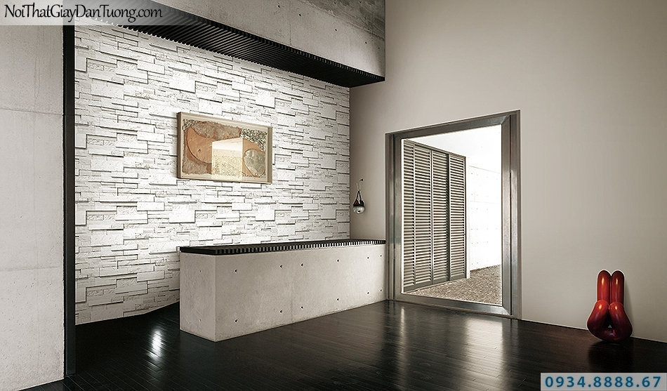 Giấy dán tường giả đá 3D màu trắng | 3D | Hàn Quốc | Stone & Natural 85050-1