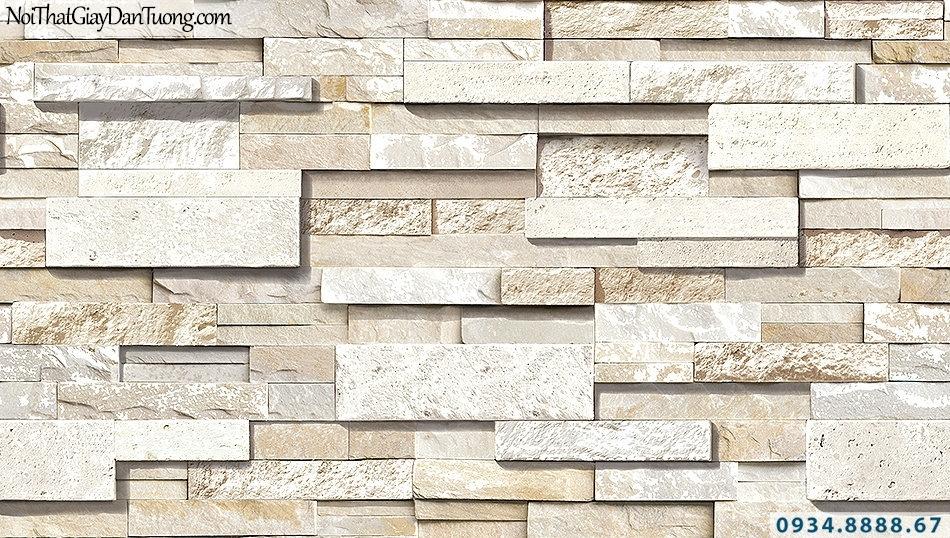 Giấy dán tường giả đá màu vàng nhạt | 3D | Hàn Quốc | Stone & Natural 85050-2