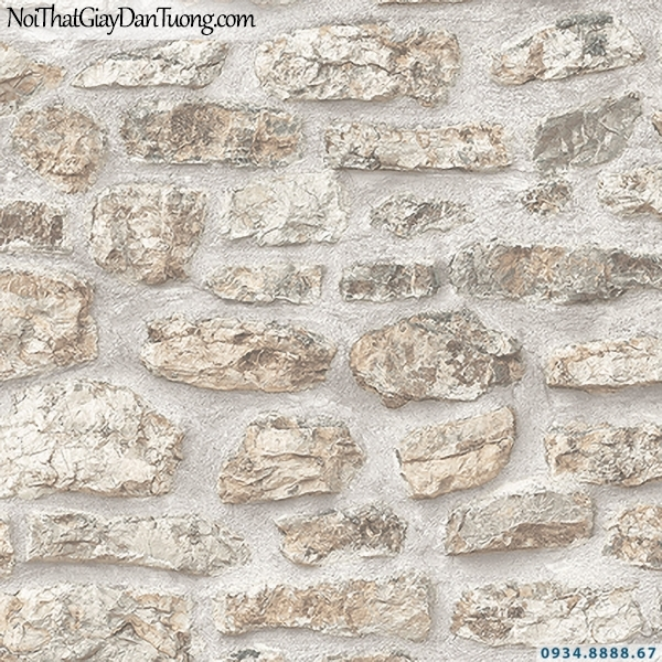 Giấy dán tường giả đá màu vàng nhạt, vàng kem | 3D | Hàn Quốc | Stone & Natural 85088-2