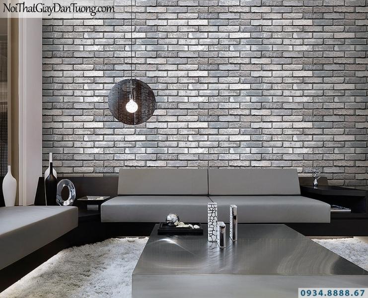 Giấy dán tường giả gạch 3D màu xám tối | 3D | Hàn Quốc | Stone & Natural 85051-2