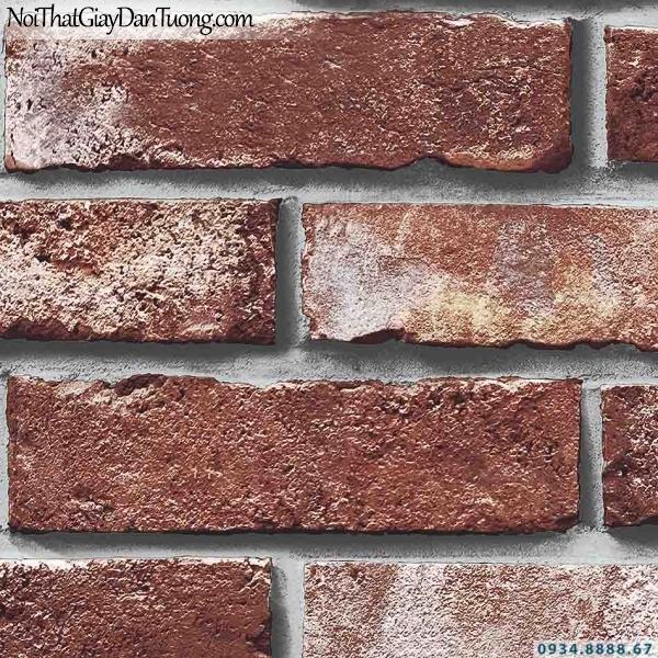 Giấy dán tường giả gạch màu đỏ, màu đỏ sẫm, nâu đỏ | 3D | Hàn Quốc | Stone & Natural 85051-3
