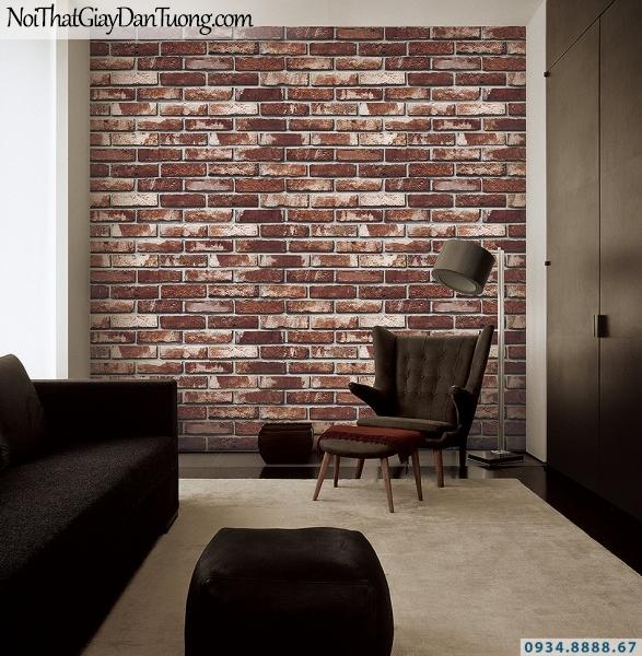 Giấy dán tường giả gạch màu nâu đỏ, màu đỏ sẫm | 3D | Hàn Quốc | Stone & Natural 85051-3