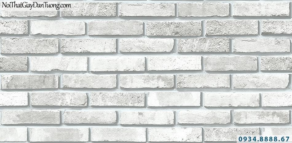 Giấy dán tường giả gạch màu trắng, gạch trắng xám | 3D | Hàn Quốc | Stone & Natural 85051-1