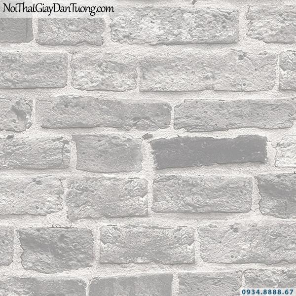 Giấy dán tường giả gạch màu xám, xám trắng | 3D | Hàn Quốc | Stone & Natural 85087-1