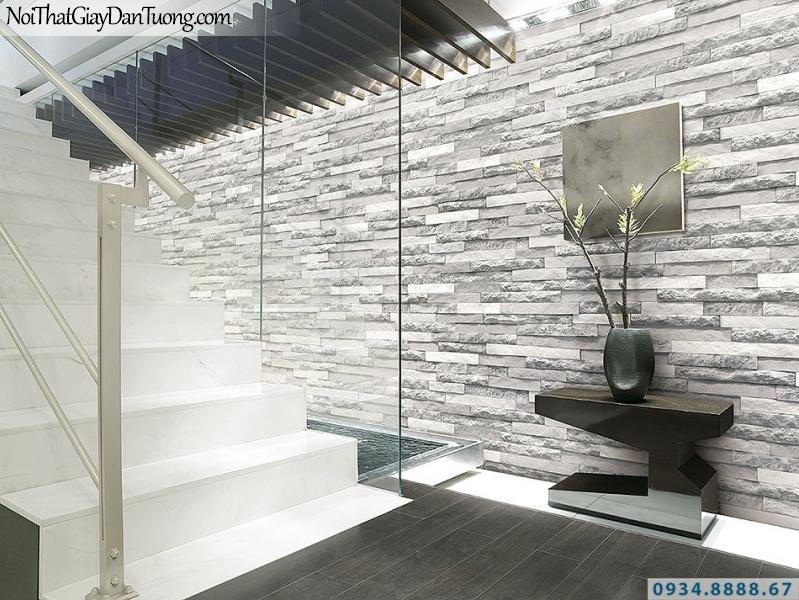 Giấy dán tường giả gỗ, giả đá, giả đá 3D Stone & Natural 85047-1 | Giấy dán tường giả đá 3D màu trắng