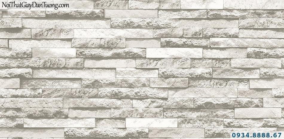 Giấy dán tường giả gỗ, giả đá, giả đá 3D Stone & Natural 85047-2| Giấy dán tường đá 3D màu vàng kem
