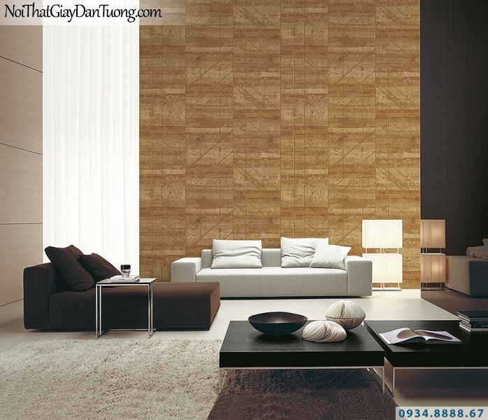 Giấy dán tường giả gỗ màu vàng cam, vàng đậm | 3D | Hàn Quốc | Stone & Natural 85082-3