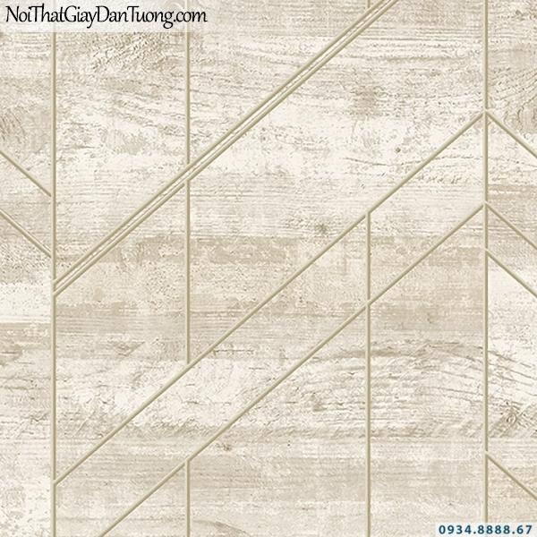 Giấy dán tường giả gỗ màu vàng kem | 3D | Hàn Quốc | Stone & Natural 85082-1