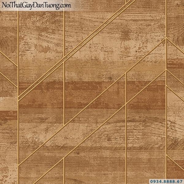 Giấy dán tường giả gỗ màu vàng, vàng đồng vàng đậm | 3D | Hàn Quốc | Stone & Natural 85082-3