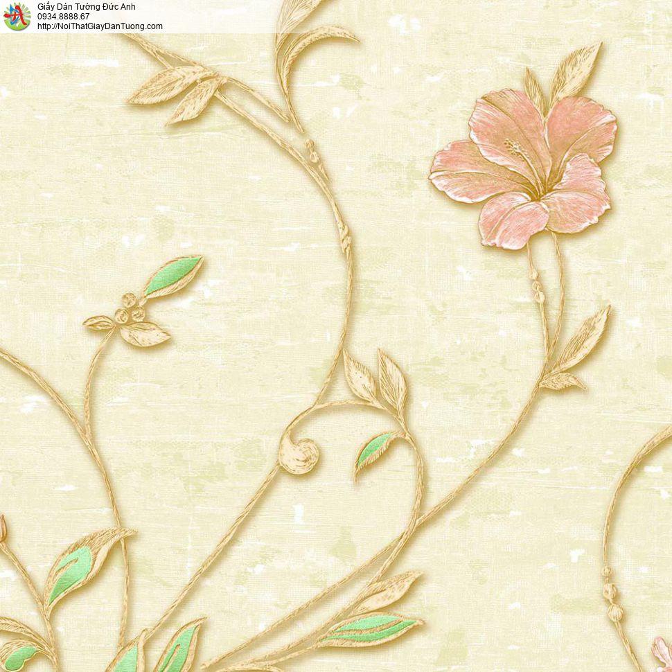 Giấy dán tường Florence 1 | Giấy dán tường hoa lá màu vàng