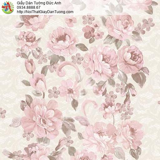 Giấy dán tường Florence 82044-1 | Giấy dán tường bông hoa màu hồng