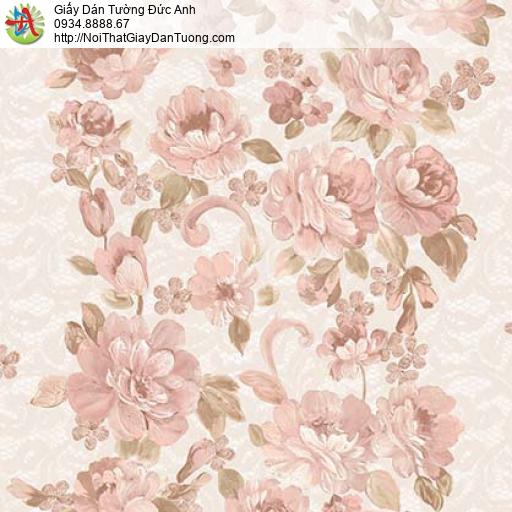 Giấy dán tường Florence 82044-2 | Giấy dán tường bông hoa lớn màu hồng
