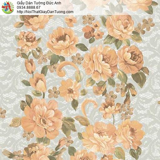 Giấy dán tường Florence 82044-4 | Giấy dán tường bông hoa lớn màu vàng