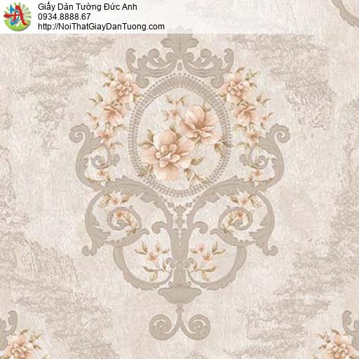 Giấy dán tường Florence 82047-3 | Giấy dán tường hoa văn màu xám vàng