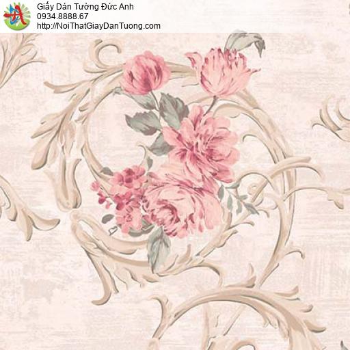 Giấy dán tường Florence 82050-2 | Giấy dán tường bông hoa lớn màu hồng