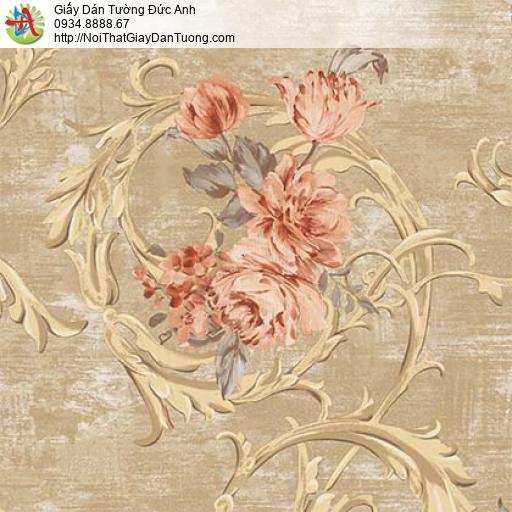 Giấy dán tường Florence 82050-5 | Giấy dán tường hoa lớn màu nâu vàng