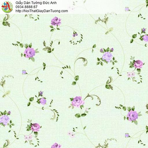 Florence 82052-3 | Giấy dán tường hoa lá màu xanh lá cây, bông màu tím