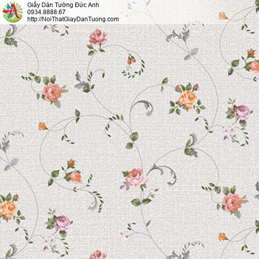 Florence 82052-4 | Giấy dán tường hoa lá màu xám nhạt, dây leo hoa nhỏ