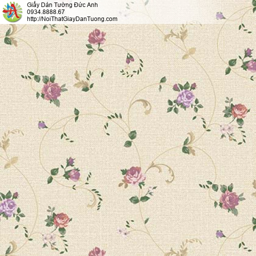 Florence 82052-5 | Giấy dán tường hoa lá rơi màu vàng nhạt dây leo