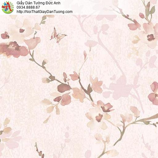 Florence 82053-2 | Giấy dán tường hoa lá màu hồng, dạng dây leo tường