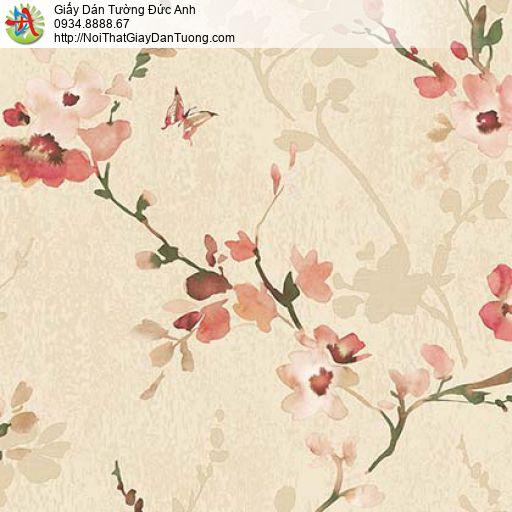 Florence 82053-3 | Giấy dán tường hoa lá màu tím nền màu xanh nhạt