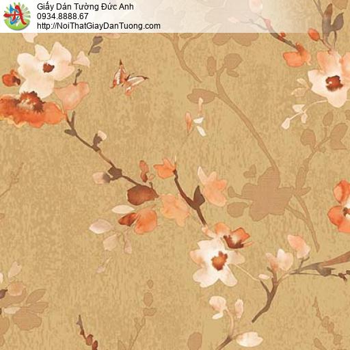 Florence 82053-5 | Giấy dán tường hoa lá màu vàng, hoa bướm mùa xuân