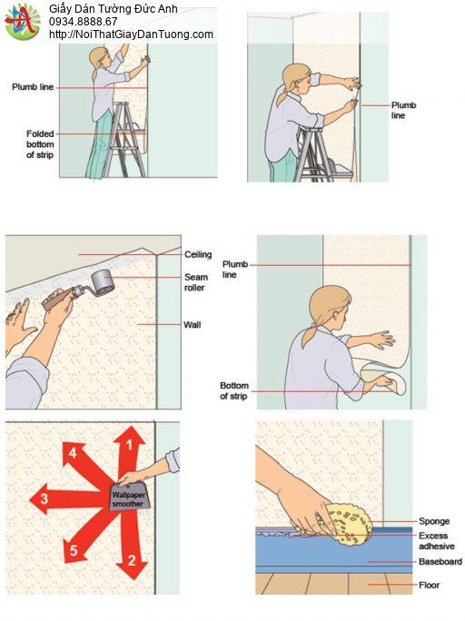 Giấy dán tường màu xanh nhạt   giấy dán tường phòng khách  D&D 65504-5