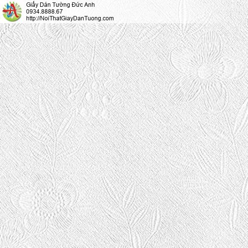 87418-1 Giấy dán tường bông hoa màu trắng, hoa văn chìm cùng màu nền