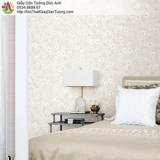 87418-2 giấy dán tường bông hoa màu trắng, dây leo hoa nhỏ
