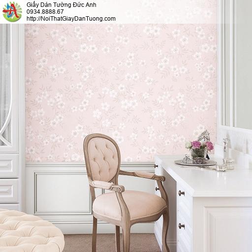 87418-3 giấy dán tường màu bông hoa nhỏ màu hồng, hoa trắng nền hồng