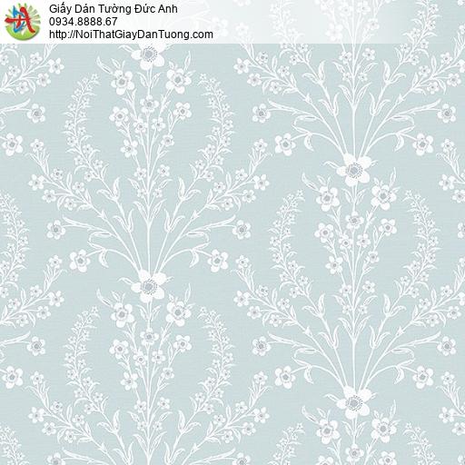 87419-2 giấy dán tường hoa văn nhỏ nền màu xanh, hoa trắng, xanh lơ