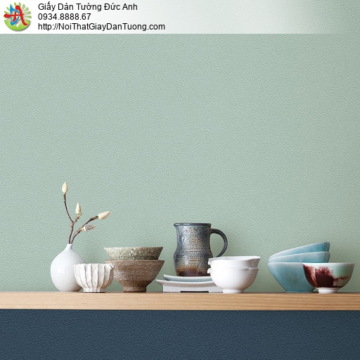 87423-5 Giấy dán tường trơn màu xanh lá, màu xanh ngọc, xanh rêu nhạt