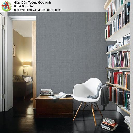 87428-5 Giấy dán tường màu xám đậm, giấy gân trơn đơn sắc một màu