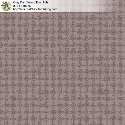 5552-4 Giấy dán tường màu nâu, giấy họa tiết hình vuông màu nâu tím