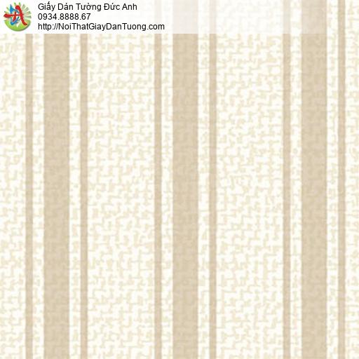 5555-1 Giấy dán tường dạng kẻ sọc lớn màu kem, giấy sọc màu kem đẹp