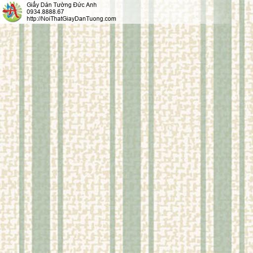 5555-2 Giấy dán tường sọc màu xanh lá cây nền màu kem, Bình Tân